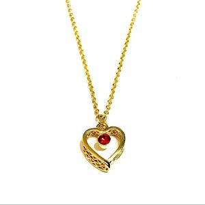 Adorable red crystal gold heart chain necklace
